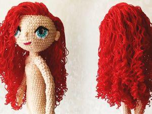 Вязаная Кукла продолжение видеоурока. Делаем волосы и глаза). Ярмарка Мастеров - ручная работа, handmade.