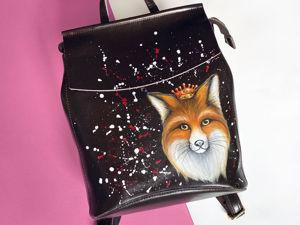 Видео рюкзака с ручной росписью Лиса. Ярмарка Мастеров - ручная работа, handmade.