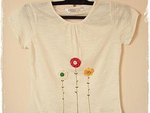 Украшаем детскую футболку милыми цветочками. Ярмарка Мастеров - ручная работа, handmade.