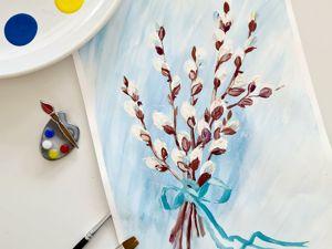 Рисуем вербу. Рисунок на Вербное воскресенье. Ярмарка Мастеров - ручная работа, handmade.