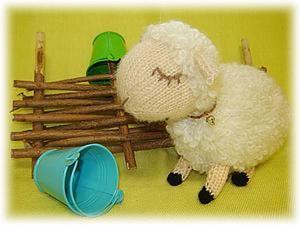 Вязание спицами: очаровательная белая овечка. Ярмарка Мастеров - ручная работа, handmade.