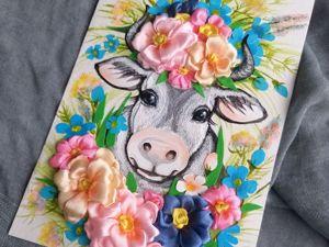 Открытка с коровой — подарок на счастье в Новом 2021 году. Ярмарка Мастеров - ручная работа, handmade.
