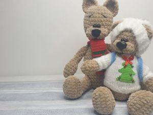 Новогодний вязаный медведь. Ярмарка Мастеров - ручная работа, handmade.
