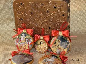 Набор елочных украшений в шкатулке по мотивам Густава Климта. Ярмарка Мастеров - ручная работа, handmade.