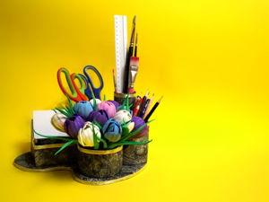 Органайзер для канцелярии с крокусами. Ярмарка Мастеров - ручная работа, handmade.