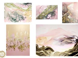 Набор картин Розовый дым. Ярмарка Мастеров - ручная работа, handmade.