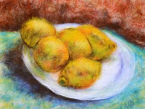 Мастер-класс: картина шерстью «Натюрморт с лимонами» по мотивам работы Ван Гога. Ярмарка Мастеров - ручная работа, handmade.