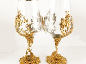Подарочная винная пара  «Цветок» . Златоуст z10291. Ярмарка Мастеров - ручная работа, handmade.