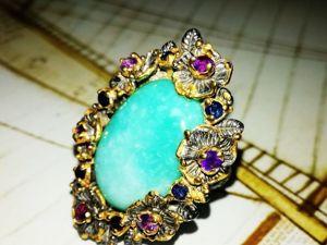 Суперцена на кольцо с натуральной бирюзой!. Ярмарка Мастеров - ручная работа, handmade.