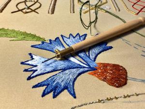 Образец для интерьерной вышивки — василек. Ярмарка Мастеров - ручная работа, handmade.
