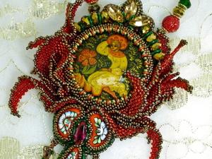 Новинка: Аленький цветочек, кулон с миниатюрой Палех. Ярмарка Мастеров - ручная работа, handmade.