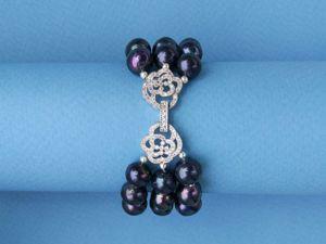 Объемный браслет с черным жемчугом. Ярмарка Мастеров - ручная работа, handmade.
