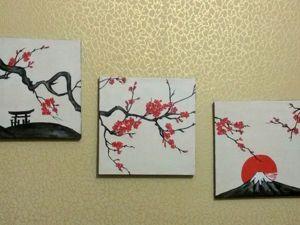 Создаем триптих «Сакура» — для тех, кто не умеет рисовать. Ярмарка Мастеров - ручная работа, handmade.