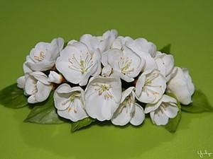 Веточка цветущей вишни из холодного фарфора. Ярмарка Мастеров - ручная работа, handmade.