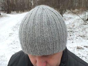 Вяжем мужскую шапку с двойным полотном. Ярмарка Мастеров - ручная работа, handmade.