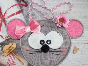 Вяжем детскую сумочку  «Мышка»  крючком. Ярмарка Мастеров - ручная работа, handmade.