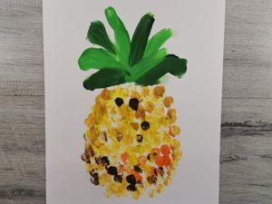Рисуем пальчиками ананас. Ярмарка Мастеров - ручная работа, handmade.