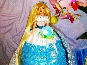Шкатулка-кукла в бело-голубом платье. Ярмарка Мастеров - ручная работа, handmade.