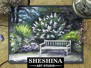 Рисуем скамейку в саду сухой пастелью: видеоурок. Ярмарка Мастеров - ручная работа, handmade.