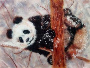 Картина из шерсти  «Снежная панда». Ярмарка Мастеров - ручная работа, handmade.