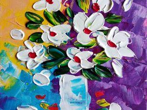 Рисуем цветы мастихином. Простой мастер-класс по рисованию. Ярмарка Мастеров - ручная работа, handmade.