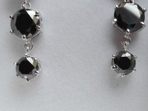 Скидка на Серьги черные муассаниты серебро. Ярмарка Мастеров - ручная работа, handmade.