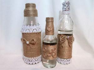 Видео мастер-класс: три варианта декорирования бутылок джутом. Ярмарка Мастеров - ручная работа, handmade.