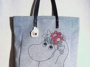 Рисуем Муми-тролля на скучной серой сумке. Ярмарка Мастеров - ручная работа, handmade.