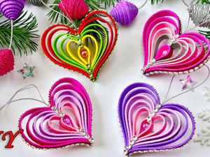 Сердечки из глиттерного фоамирана: простые игрушки на ёлку. Ярмарка Мастеров - ручная работа, handmade.