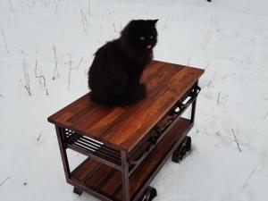 Авторский сервировочный столик в индустриальном стиле полностью ручной работы. Ярмарка Мастеров - ручная работа, handmade.