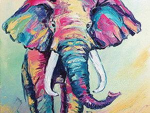 Как нарисовать слона маслом на холсте. Ярмарка Мастеров - ручная работа, handmade.