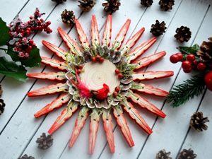 Новогодние снежинки из деревянных прищепок. Ярмарка Мастеров - ручная работа, handmade.