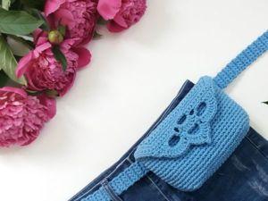 Вяжем крючком сумку на пояс. Ярмарка Мастеров - ручная работа, handmade.