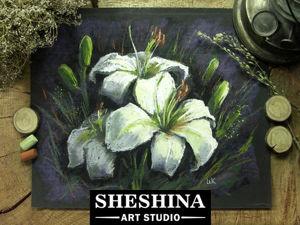 Рисуем белые лилии сухой пастелью. Ярмарка Мастеров - ручная работа, handmade.