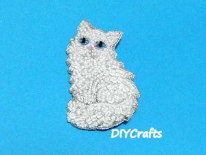 Создаем брошь  «Зимняя кошка»  из бисера. Ярмарка Мастеров - ручная работа, handmade.