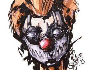 День 361. Графика маркерами  «Рыжий клоун» . 4 дней до года. Ярмарка Мастеров - ручная работа, handmade.