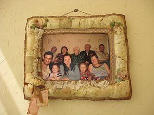 """""""Винтажная"""" рамочка для семейного фото из ткани. Ярмарка Мастеров - ручная работа, handmade."""