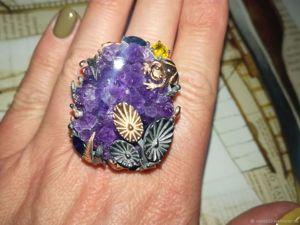 Спеццена на макси-кольцо с кристальной аметистовой щеткой!. Ярмарка Мастеров - ручная работа, handmade.