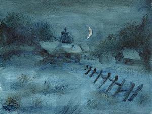 """Рисуем """"Зимний вечер"""" маслом. Ярмарка Мастеров - ручная работа, handmade."""