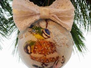 Создаем елочный шар «Зимние птицы». Ярмарка Мастеров - ручная работа, handmade.