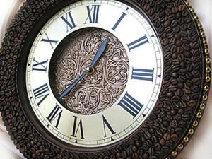 Создание интерьерных часов с трехуровневым циферблатом, кофе и объемной росписью. Ярмарка Мастеров - ручная работа, handmade.