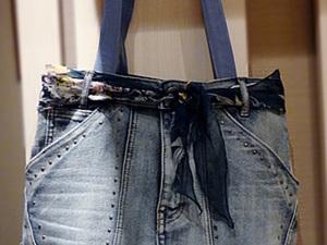 Новая жизнь старым вещам: сумка из джинсовой юбки.. Ярмарка Мастеров - ручная работа, handmade.