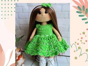 Вяжем платье для куклы крючком. Ярмарка Мастеров - ручная работа, handmade.