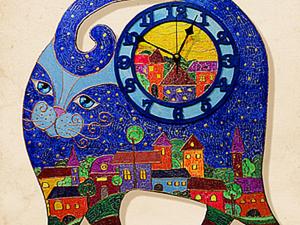 Большие часы «Синий Кот». Ярмарка Мастеров - ручная работа, handmade.