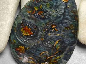 Осенние зеркала – женское украшение на шею – авторская роспись. Ярмарка Мастеров - ручная работа, handmade.