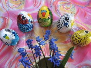 Волнистые птички-яички. Роспись акриловыми красками. Ярмарка Мастеров - ручная работа, handmade.