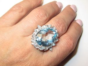 Кольцо  с топазом голубым серебряное. Ярмарка Мастеров - ручная работа, handmade.