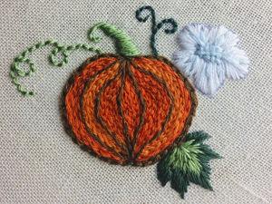 Создаем мини-вышивку Тыква. Ярмарка Мастеров - ручная работа, handmade.
