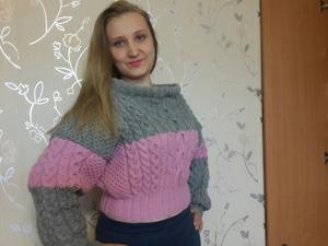 Видеоурок: вяжем спицами эффектный объемный свитер. Ярмарка Мастеров - ручная работа, handmade.