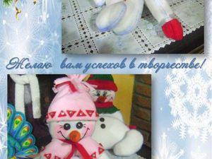 Мастер-класс по созданию забавной новогодней игрушки «Снеговичок-тюфячок». Ярмарка Мастеров - ручная работа, handmade.